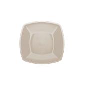4052-41 Πιάτο γλυκού πλαστικό PP τετράγωνο 18x18cm γκριζο-μπεζ πολυτελείας.