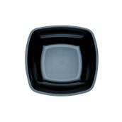5057-19 Πιάτο σούπας βαθύ PS πλαστικό τετράγωνο 18x18cm μαύρο πολυτελείας