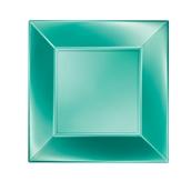 8050-86 Πιάτο φαγητού πλαστικό PP τετράγωνο 23x23cm πράσινο ΠΕΡΛΕ, πολυτελείας