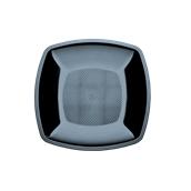 5050-19 Πιάτο φαγήτου πλαστικό PS τετράγωνο 23x23cm μαύρο πολυτελείας