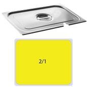 FLG-N-2/1 Καπάκι με εγκοπή δοχείου γαστρονομίας ανοξείδωτο 18/10, GN2/1 (65x53cm), FUECO