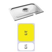 FLG-N-2/3 Καπάκι με εγκοπή δοχείου γαστρονομίας ανοξείδωτο 18/10, GN2/3 (35.4x32.5), FUECO