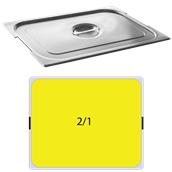 FLG-H-2/1 Καπάκι δοχείου γαστρονομίας με εγκοπή για χερούλια ανοξείδωτο 18/10, GN2/1 (65x53cm), FUECO