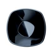 4058-19 Πιάτο σαλάτας πλαστικό PS τετράγωνο 21cm, 1.25 lt μαύρο πολυτελείας.