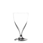 7570-01 Πλαστικό ποτήρι σαμπάνιας PS μίας χρήσης με ασημί βάση, 16cl