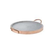 3960/27 Δίσκος πέτρινος με χάλκινο περίβλημα και χερούλια, φ27cm, Cu Artigiana