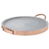 3960/39 Δίσκος πέτρινος με χάλκινο περίβλημα και χερούλια, φ39cm, Cu Artigiana