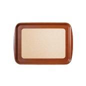 DIA-FE-005/BR Ξύλινος δίσκος σερβιρίσματος με φελλό, 49x34cm, καφέ, Ελληνικής κατασκευής