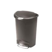 CW1357 Κάδος απορριμμάτων 50L ημικυλινδρικός πλαστικός με πεντάλ, απαλό κλείσιμο, γκρι