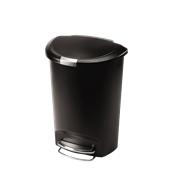 CW1355 Κάδος απορριμμάτων 50L ημικυλινδρικός πλαστικός με πεντάλ, απαλό κλείσιμο, μαύρος