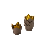 TV5T Xάρτινη θήκη ψησίματος Tulip, σοκολατί-χρυσαφί, Tulip φ50(βάση)x50mm, Ιταλίας