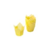 TV5R02 Xάρτινη θήκη ψησίματος Tulip, κίτρινη, Tulip φ50(βάση)x50mm, Ιταλίας