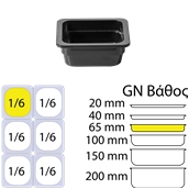 B499/BLACK Δοχείο Γαστρονομίας στοιβαζόμενο μελαμίνης GN1/6 – 16.2x17.6x6.5cm, μαύρο, ALAR