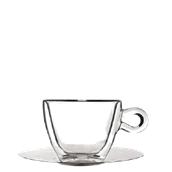 THERMIC-CUP/30CL Γυάλινο Φλυτζάνι με inox πιατάκι, διπλών τοιχωμάτων 30cl, Luigi Bormioli