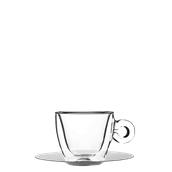 THERMIC-CUP/16.5CL Γυάλινο Φλυτζάνι με inox πιατάκι capuccino, διπλών τοιχωμάτων 16.5cl, Luigi Bormioli