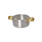 05-9212 Κατσαρολάκι αλουμινίου με ορειχάλκινα χερούλια, φ12x4.5cm (πάχος 1mm)