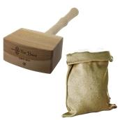 B020 Σετ θρυμματισμού πάγου, με ξύλινο σφυρί και βαμβακερή τσάντα, The Bars, Ιταλίας