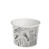 210DELINEWS24 Χάρτινο δοχείο για σαλάτες, 650ml, Φ11,4cm, σχέδιο εφημερίδα, μίας χρήσης