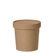 210SOUPCOK16 Χάρτινο κύπελλο Kraft με καπάκι, 470ml, 9,5x9,8cm