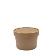 210SOUPCOK8 Χάρτινο κύπελλο Kraft με καπάκι, 240ml, 9x6,1cm