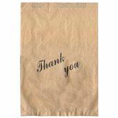 70.05.00 Χάρτινη Σακούλα Take-Away, σε χρώμα KRAFT με σχέδιο THANK YOU, μεγάλη 25x38cm, Ελληνική κατασκευή