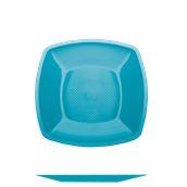 4050-33 Πιάτο φαγήτου πλαστικό PP τετράγωνο 23x23cm τιρκουάζ πολυτελείας.