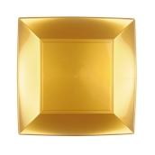 8050-020 Πιάτο φαγητού πλαστικό PP τετράγωνο 23x23cm χρυσαφί πολυτελείας.