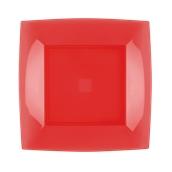 7050-28 Πιάτο φαγητού πλαστικό PS τετράγωνο 23x23cm κόκκινο πολυτελείας.