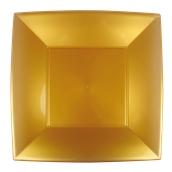 8056-020 Πιάτο φαγητού XL πλαστικό PP τετράγωνο 29x29cm χρυσαφί πολυτελείας.