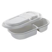 5364 Δοχείο Τροφίμων 2Θέσεων Με Καπάκι, Από Ζαχαροκάλαμο 690ml 24x15,5cm, Βιοδιασπώμενο