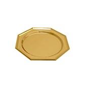 V1006-02 Δίσκος Πλαστικός Παρουσίασης 27cm στρογγυλός - οκτάγωνος PET, χρυσός