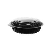 BPP-H072G Σκεύος PP Μαύρο Στρογγυλό, Φ19,5x3,5cm, με Διαφανές Καπάκι PS