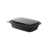 BPP-H099G Σκεύος PP Μαύρο, Μερίδας Μεγάλο, 22,5x15,5x3,5cm, με Διαφανές Καπάκι PS