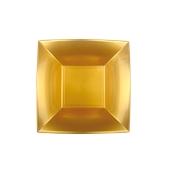 8057-020 Πιάτο σούπας πλαστικό PP τετράγωνο 18x18cm χρυσαφί πολυτελείας.