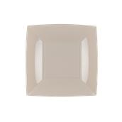 8052-41 Πιάτο γλυκού πλαστικό PP τετράγωνο 18x18cm γκριζο-μπεζ πολυτελείας.