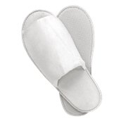 AM-502/OPEN Ζεύγος Παντόφλες πετσετέ Ανοιχτές λευκές με σόλα 5mm