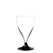 7570-19 Πλαστικό ποτήρι σαμπάνιας PS μίας χρήσης με μαύρη βάση, 16cl