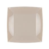 8050-41 Πιάτο φαγητού πλαστικό PP τετράγωνο 23x23cm γκριζο-μπεζ πολυτελείας