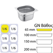 C26065 Δοχειο ανοξείδωτο #201 - GN1/6 (17.6x16.2cm) - 65mm