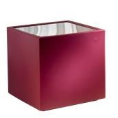 TA320-DM5555-146 Τραπέζι κύβος πλαστικό, κόκκινο 55x55x55cm, με διάφανο plexiglass, Ιταλίας