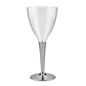 GLAWINSI10C10 Πλαστικό Ποτήρι Κολωνάτο με Βάση Νίκελ. PS μίας χρήσης, Κρασιού, 13cl, Sabert