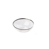 INJBCLSI1408C10N Μπωλ-Σαλατιέρα διάφανη με ασημί χείλος 400ml, 14x4cm, Υψηλής αισθητικής, PS, Μίας Χρήσης, Sabert