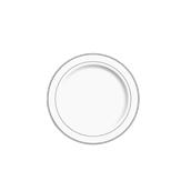 INJPLWS1520C10 Πιάτο Ρηχό Στρογγυλό με ασημί χείλος, Φ15cm, Λευκό, PS, Μίας Χρήσης, Σειρά mozaik, Sabert