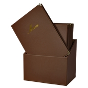 MC-BOX-CRA4-BR Θήκη-κουτί με 20 Καταλόγους MENU A4 CLASSIC 24x36cm, καφέ, SECURIT
