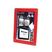 PFW-A4-RD Κορνίζα Α4 φυλλαδίων διάφανη, για Βιτρίνες, κόκκινη, SECURIT