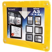 PFW-A3-YE Κορνίζα Α3 φυλλαδίων διάφανη, για Βιτρίνες, κίτρινη, SECURIT
