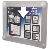PFW-A3-GY Κορνίζα Α3 φυλλαδίων διάφανη, για Βιτρίνες, γκρι, SECURIT