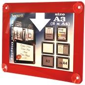 PFW-A3-RD Κορνίζα Α3 φυλλαδίων διάφανη, για Βιτρίνες, κόκκινη, SECURIT