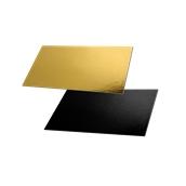 DM-15X30/BK-GD Δίσκος-Βάση Τούρτας Χάρτινη Τετράγωνη  15x30cm σε χρυσό και μαύρο χρώμα, Ιταλίας (τιμή ανά κιλό)