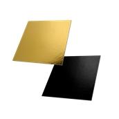 DM-25X25/BK-GD Δίσκος-Βάση Τούρτας Χάρτινη Τετράγωνη 25x25cm σε χρυσό και μαύρο χρώμα, Ιταλίας (τιμή ανά κιλό)